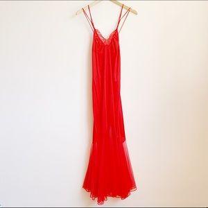 vtg floor length gauzy red slip dress with chiffon